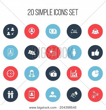 Set Of 20 Editable Trade Icons. Includes Symbols Such As Idea, Job Woman, Circle Diagram And More
