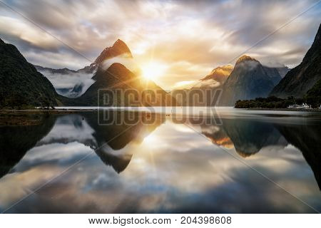 Beautiful Sunrise In Milford Sound, New Zealand