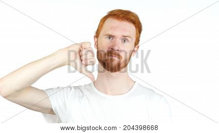 Portrait Red Hair Man Showing Thumbs Down Sign, In Disapproval Of Offer,