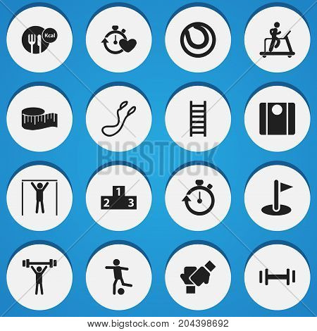Set Of 16 Editable Lifestyle Icons. Includes Symbols Such As Jump Training, Cloth Ruler, Jogging And More