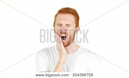 Frustrated Redhair Young  Man With A Toothache , Tooth Pain Isolated On White Background