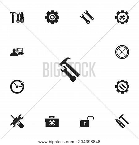 Set Of 13 Editable Mechanic Icons. Includes Symbols Such As Settings, Service, Fixing Equipment And More