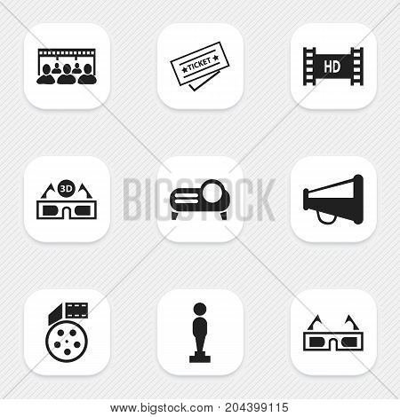 Set Of 9 Editable Cinema Icons. Includes Symbols Such As Ticket, Reel, Audience And More