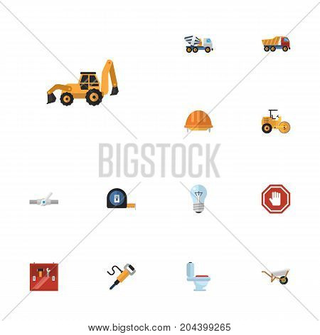 Flat Icons Bulb, Toolkit, Roll Meter And Other Vector Elements