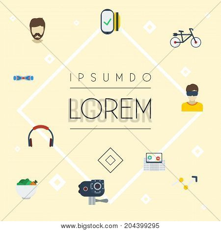 Flat Icons Earphone, Bicycle, Payment And Other Vector Elements
