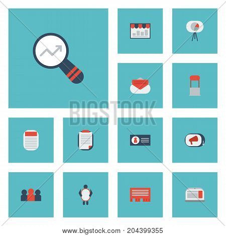 Flat Icons Journal, Television, Advertising And Other Vector Elements