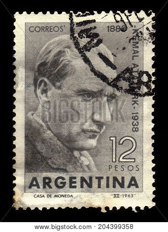 ARGENTINA - CIRCA 1963: a stamp printed in the Argentina shows portrait of Mustafa Kemal Atatürk, was an turkish army officer, revolutionary and founder of the Republic of Turkey, first President, circa 1963