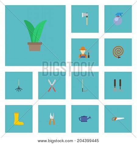 Flat Icons Garden Hose, Tools, Grower And Other Vector Elements