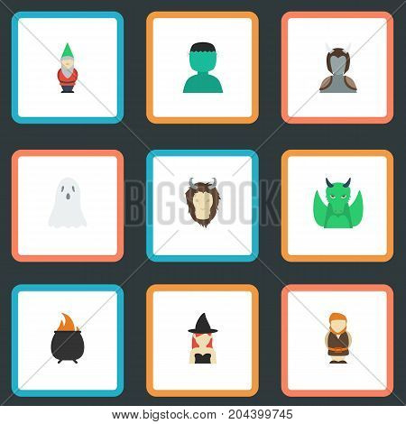 Flat Icons Huge Man, Dinosaur, Halloween And Other Vector Elements