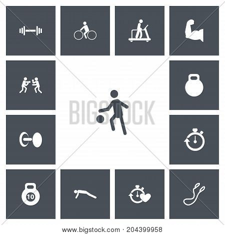 Set Of 13 Editable Healthy Icons. Includes Symbols Such As Executing Running, Stopwatch, Strength And More