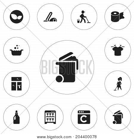 Set Of 12 Editable Cleaning Icons. Includes Symbols Such As Vacuum Cleaner, Tub, Laundry Detergent And More