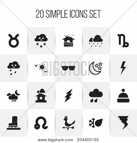Set Of 20 Editable Air Icons. Includes Symbols Such As Domicile, Frost, Snowing And More