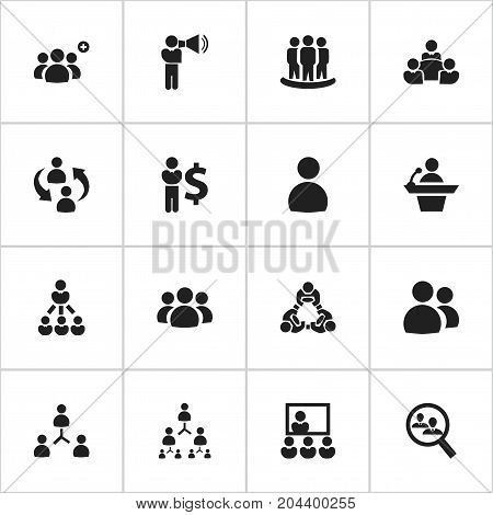 Set Of 16 Editable Business Icons. Includes Symbols Such As Teamwork, Command, Human Resouces