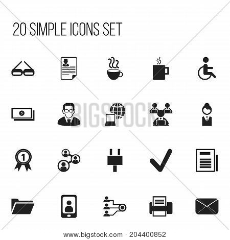 Set Of 20 Editable Bureau Icons. Includes Symbols Such As Job Woman, Dollar, Mug And More