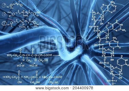 Abstract background with blue molecule and chemical formulas. Medicine and solution concept. 3D Rendering