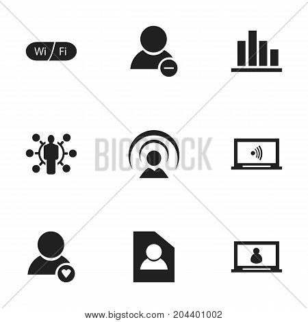 Set Of 9 Editable Internet Icons. Includes Symbols Such As Monitor, Wifi, Delete Member And More