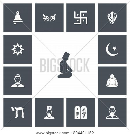 Set Of 13 Editable Dyne Icons. Includes Symbols Such As Ancient Stone Text, Enchanter Stick, Chaplain And More