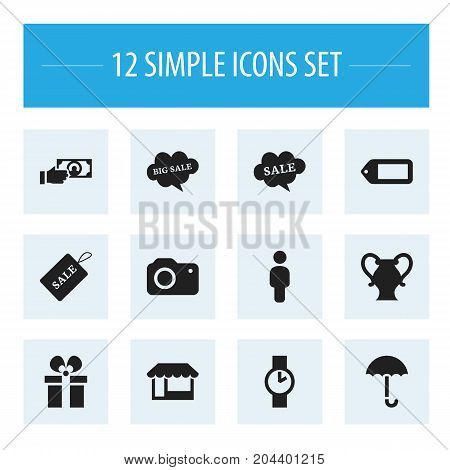 Set Of 12 Editable Business Icons. Includes Symbols Such As Gingham, Grocery, Payment And More