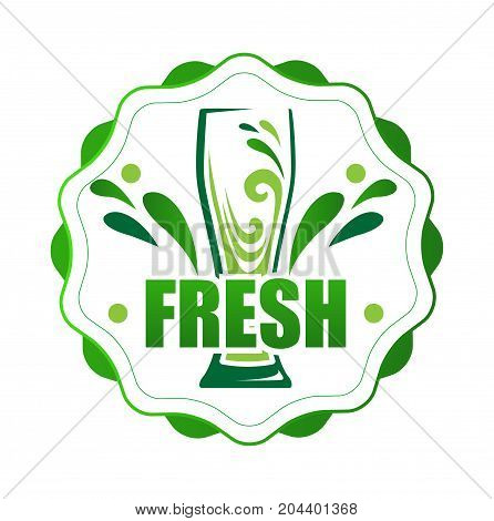 On round label one glass of juice. Vector illustration of a juice sign. Green splashes in a glass. Flat style.