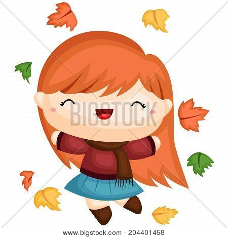 a girl in autumn clothing jumping with leaves
