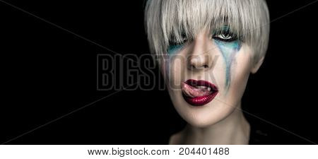 Halloween Woman Vampire With Creative Art Make Up,red Lips And Fangs And Tongue Out, Dark Portrait,b
