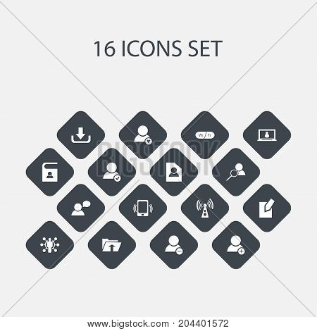 Set Of 16 Editable Network Icons. Includes Symbols Such As Smartphone, Wireless Transmission, Transfer And More