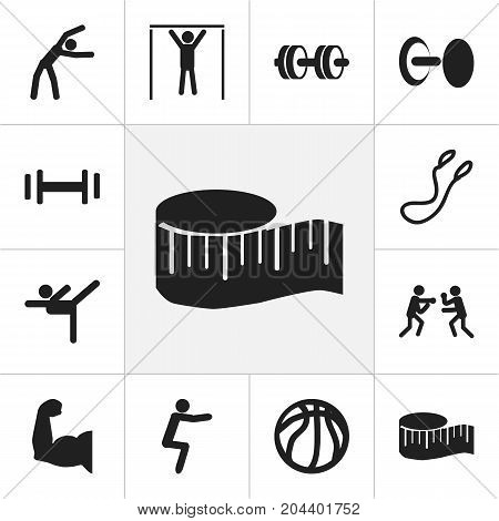 Set Of 12 Editable Lifestyle Icons. Includes Symbols Such As Acrobatics, Fight, Street Workout And More