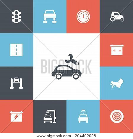 Set Of 13 Editable Vehicle Icons. Includes Symbols Such As Vehicle Wash, Highway, Stoplight And More