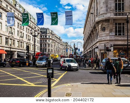 People In Regent Street In London (hdr)