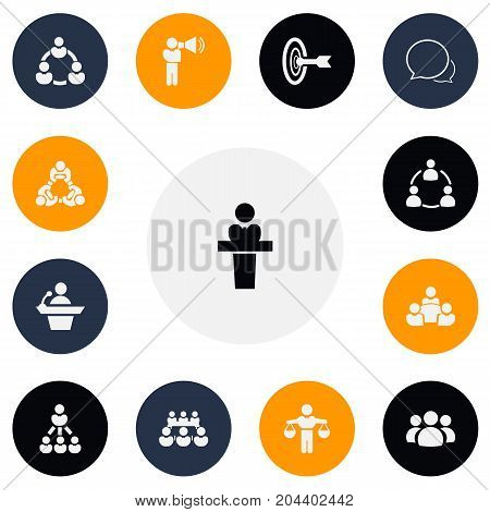 Set Of 13 Editable Community Icons. Includes Symbols Such As Finding Solution, Teamwork, Leader And More