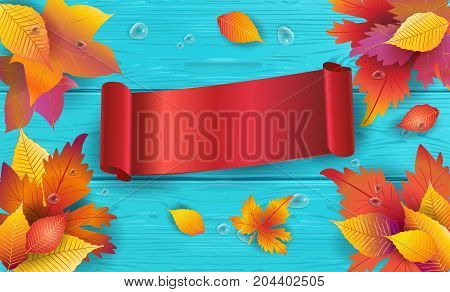 Thanksgiving Holiday wood background with Fall maple tree leaves and red ribbon banner - vector illustration template