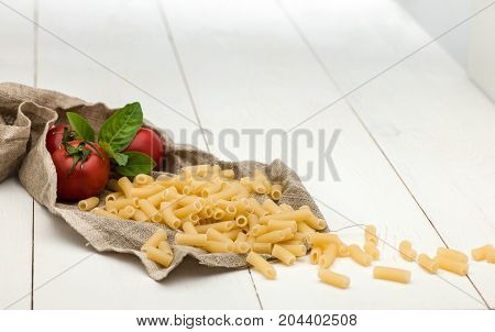 Pasta On White Old Table