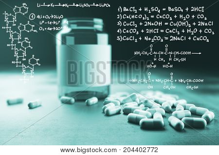 Pill medicine bottle and chemical formulas on light background. Medicine and science concept. 3D Rendering