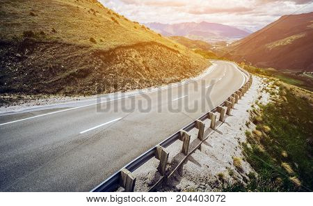Winding Empty Road On The Mountain