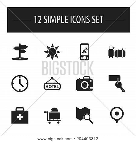 Set Of 12 Editable Travel Icons. Includes Symbols Such As Suitcases, Crossroad, Signboard And More