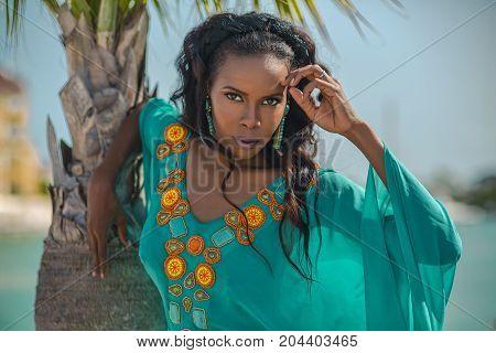 Portrait Beautiful Dark-skinned Latin Girl