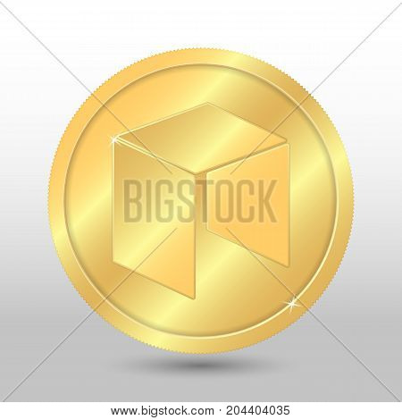 Gold Vector Neo Coin On A Gray Background. Virtual Currency