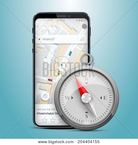 Phone gps navigation map compass. Vector illustration
