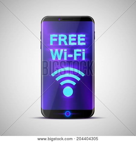 Phone with an inscription on the screen free wi-fi. Vector illustration