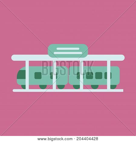 Icon in flat design train Station business
