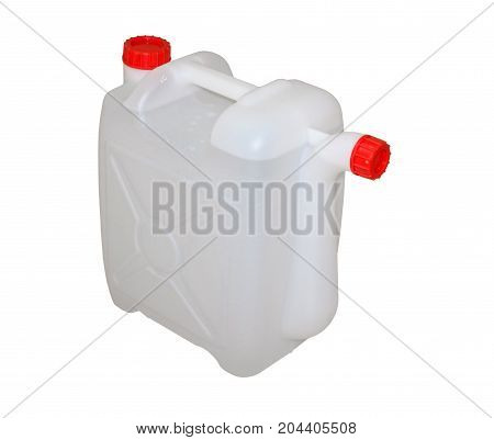 white plastic container with water on white background
