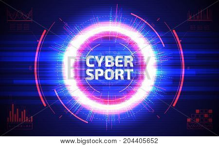 Cyber sport abstract background. Professional gaming stream banner design. Sci-fi futuristic crosshair. HUD user interface. Electronic sport vector illustration. Esport event poster concept.