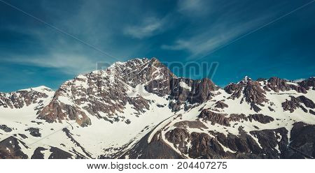 Winter Landscape Of Snow Mountain Range