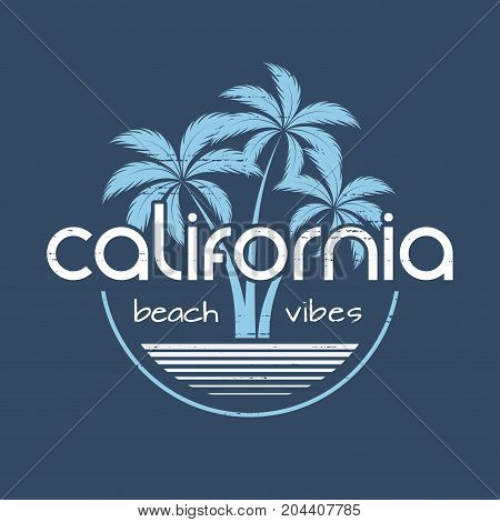 California beach vibes t-shirt and apparel vector design, print, typography, poster, emblem with palm trees.