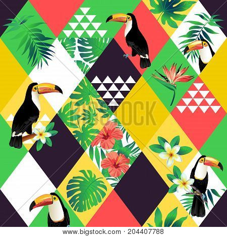 Exotic beach trendy seamless pattern, patchwork illustrated floral vector tropic leaves. Jungle pink toucan Wallpaper print background mosaic