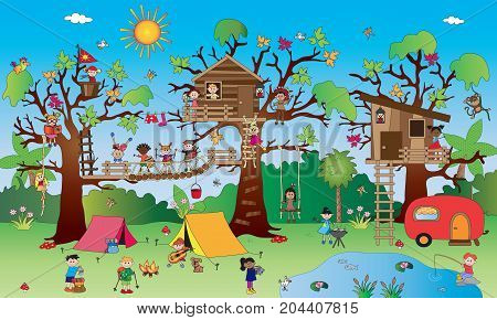 illustration of landscape with happy children in a park