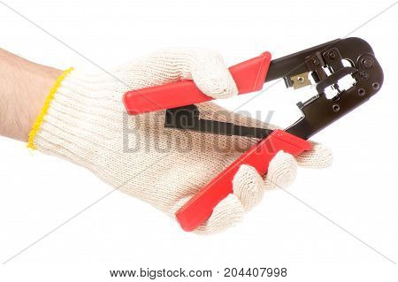 IT tool for crimping in a male hand on a white background isolation