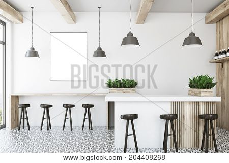 White bar interior with a wooden bar stand a row of dark wooden chairs and a framed vertical poster on a wall. 3d rendering mock up