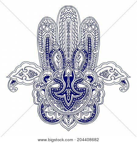 Lace paisley composition. Stylized vector image of hamsa hand. Traditional symbol of Middle East, India, Northern Africa, blue outlines isolated on white background. Element for your design.