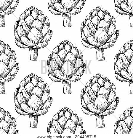 Artichoke hand drawn vector seamless pattern. Isolated Vegetable engraved style background. Detailed vegetarian food drawing. Farm market product. Great for menu, packaging design, fabric